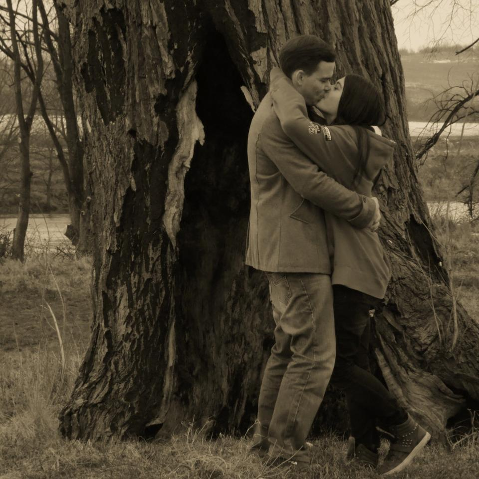 Pärchen küssend vor einem Baum