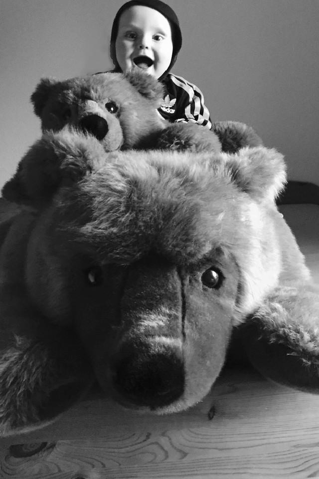 Kleiner Junge auf zwei Stoffbären