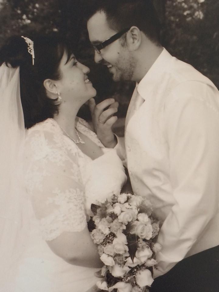 Schwarz-weiß Bild Hochzeitspaar