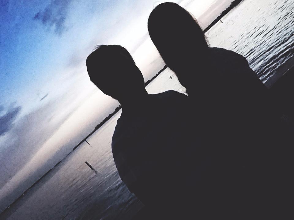 Silhouetten, Paar, Florida, Strand