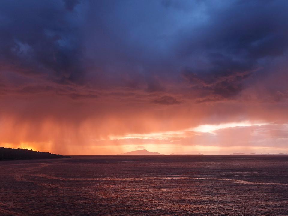 Sonnenuntergang, Gewitter, regen, Sorrent