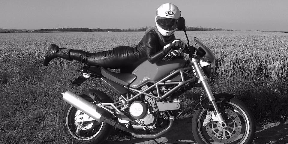 Frau, Motorradfahrer, Motorrad, Leder