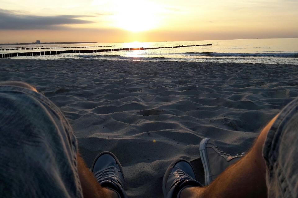 Abend, Strand, Meer, Sand, Sonnenuntergang, romantisch