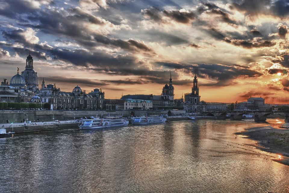 Stadt, Dresden, Sonnenuntergang, HDR, Fotografie