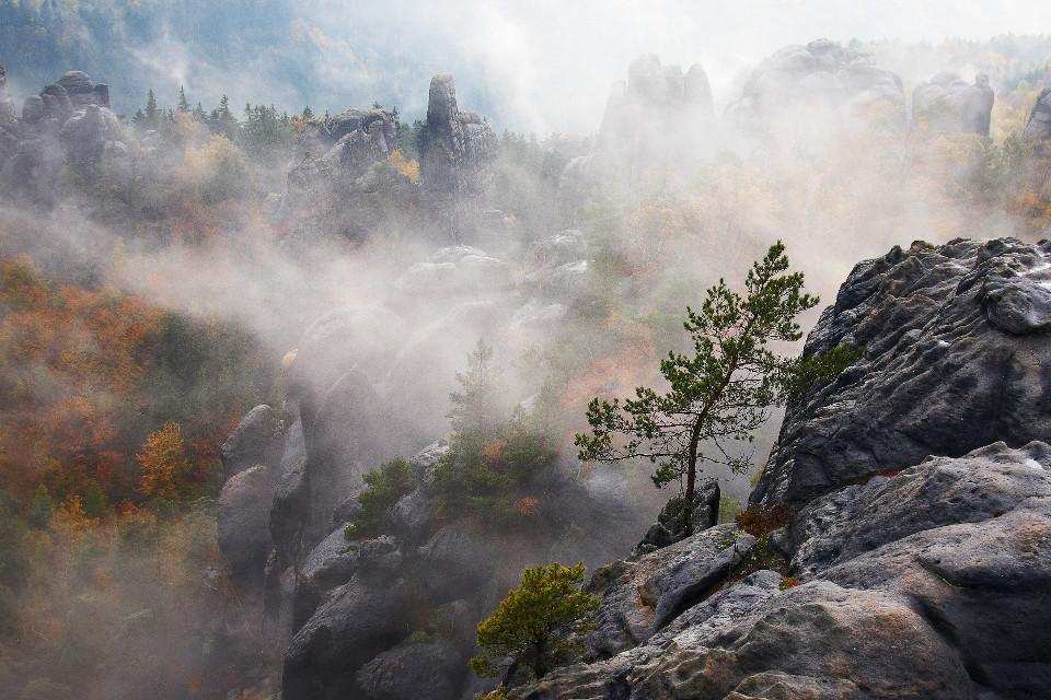 Herbst, Berge, Nebel, Epos, Tal