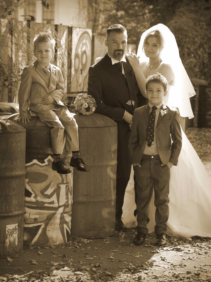 Familie, Sepia, Ehe, Hochzeit