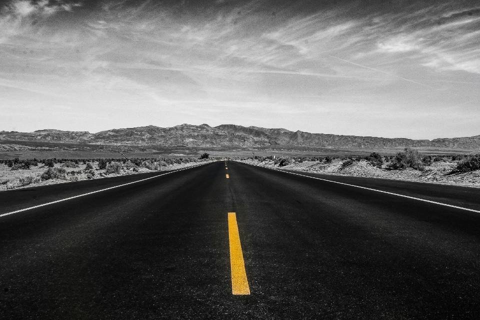 Straße, Amerika, Chaussee, Schwarz und weiß