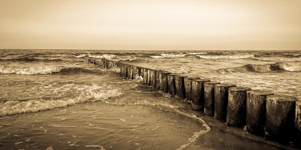 Meer, Wellen, Küste, Sepia