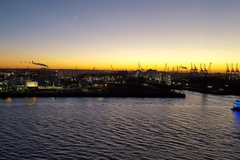 Hamburg, stadt, Hafen, nächtlich