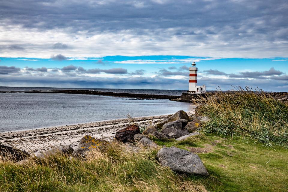 Island, Küste, Meer, Leuchtturm