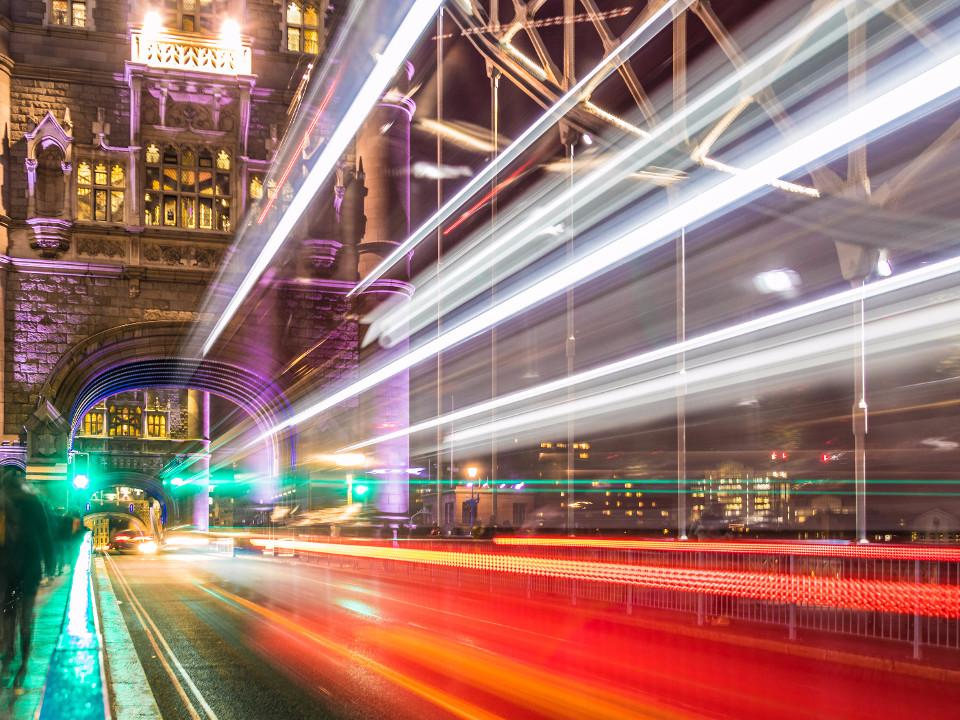 London, Langsame Belichtung, Lichtstreifen