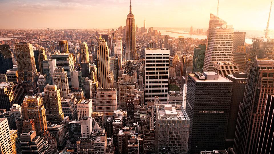 Stadt, Stadtbild, Skyline von Manhattan, Wandkunst
