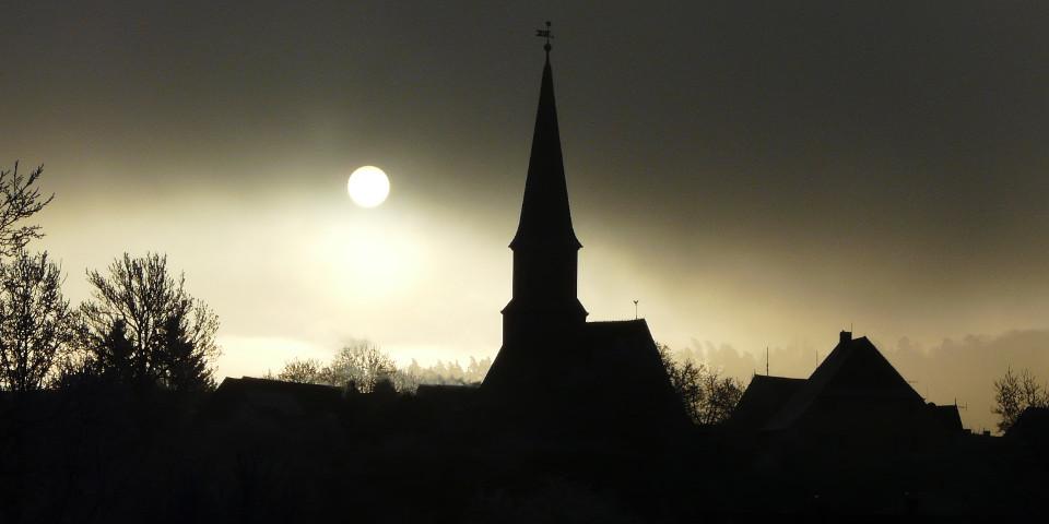 Dorf, Nacht-, Mond, Kirche, Beängstigend