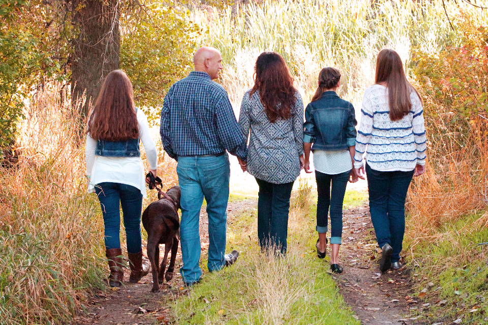 Familie, Kinder, Eltern, Hund, Pfad