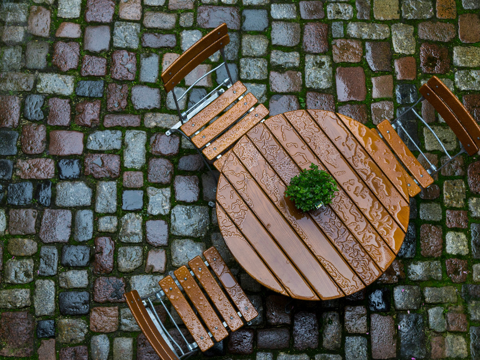 Tabelle, einsam, leer, Cafe, Regen, nass