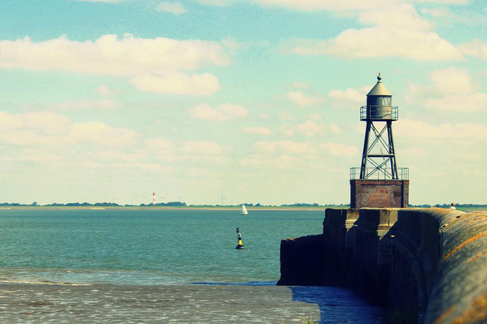 Meer, Küste, Leuchtturm, Jahrgang, ausgewaschen