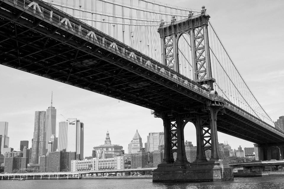 Stadt, Stadtbild, Manhattan, Brooklyn Brücke, monochrom