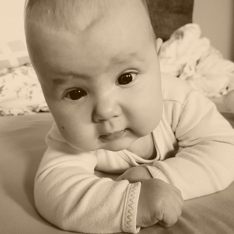 baby, Nahansicht, Sepia, Säugling, niedlich